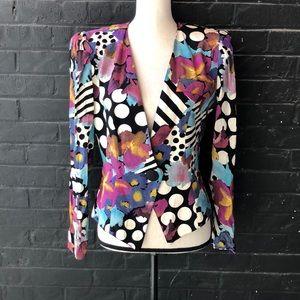 VTG Art Deco Floral Polka Dot Striped Retro Blazer